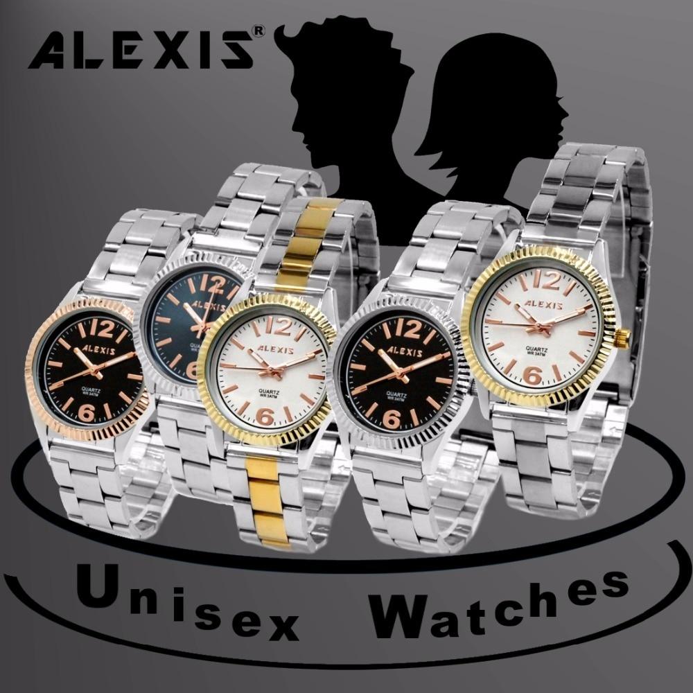 Alexis Unisex Analog Rose Gold Bazel Watch Japan Miyota Movement Matt Silver Stainless Steel Band Black Dial Water Resistant enlarge