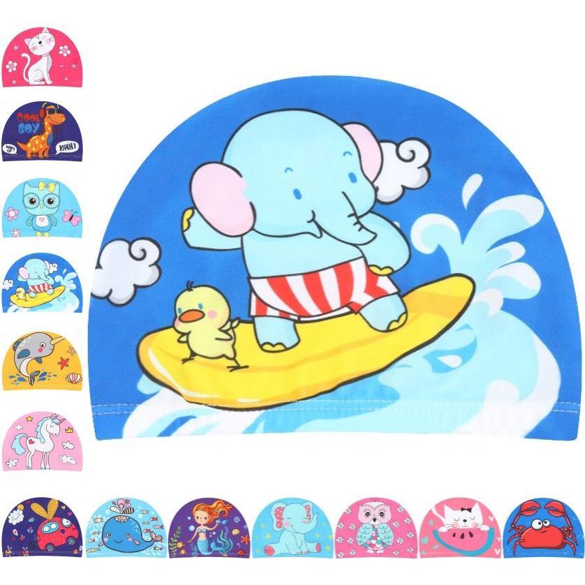 Детская Милая мультяшная тканевая шапка для плавания, для бассейна, для водных видов спорта, защитная шапка для плавания, шапки для купания ...
