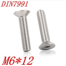 100 pzas/lote M6 * 12 M6 x 12mm DIN7991 sus304 inox hexagonal de cabeza avellanada tapa de tornillo