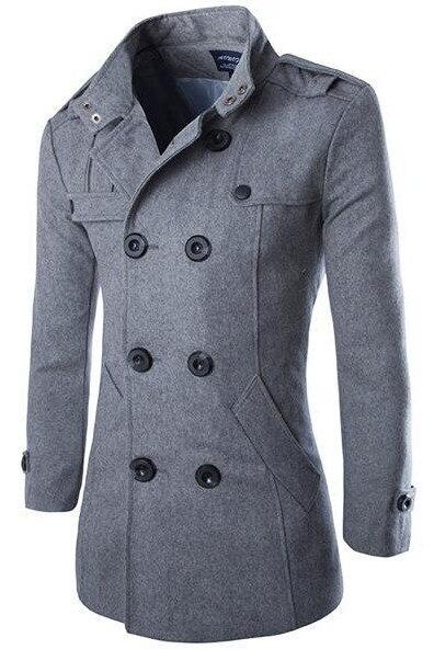 Abrigo de lana de alta calidad para hombre estilo británico chaqueta de viento larga con doble botonadura otoño invierno nuevo abrigo de lana para hombre gris negro 4XL