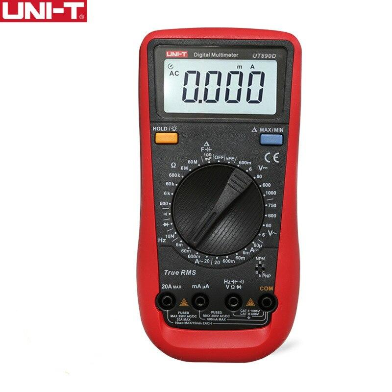 UNI-T UT890D True RMS Digital Multimeter Electrical Test Handheld Tester Capacitance DC AC Voltage Ammeter hFE LED Diode