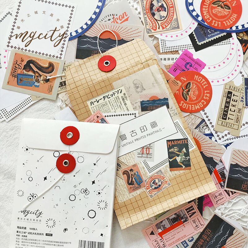 Bilhete De Papel Criativo 100 Pc Gravável Selo Do Vintage Etiqueta Adesivos Decorativos Scrapbooking Vara Papelaria Diário Álbum de Figurinhas