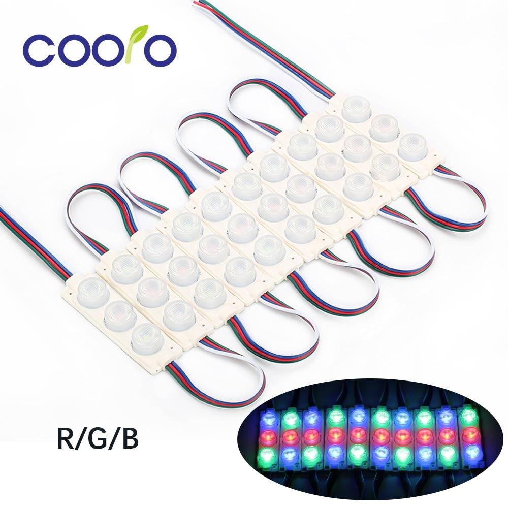 Módulo LED 3030 10 LEDs DC12V módulos LED para diseño publicitario iluminación superbrillante 10 unids/lote Blanco/RGB