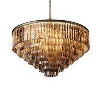 Retro American R Crystal Pendant Light Black Iron For Dining Room Restaurant Bedroom Study Room Living Room LED E14 bulbs