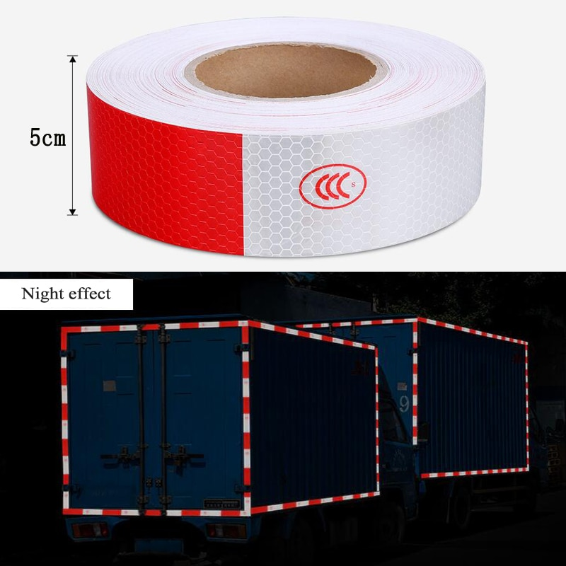 8 pcs set reflective opening sticker access control warning safety car shape car sticker car decoration night light strip 5cmx5m Car Body Reflective Sticker waterproof safety warning strip Tapes night driving reflective sticker