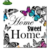 Peinture diamant theme  papillon maison douce   broderie carree  point de croix  decoration dinterieur  kit de mosaique 5D