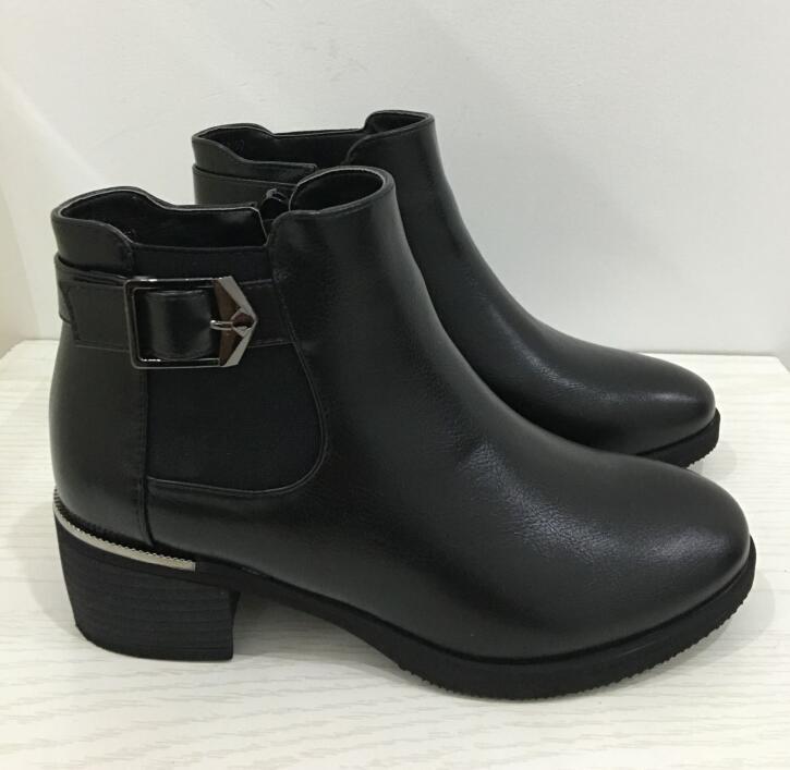Dousin Partin, botas de cuero negro para mujer, zapatos de mujer con tacón cuadrado, zapatos de mujer con punta estrecha, zapatos de mujer