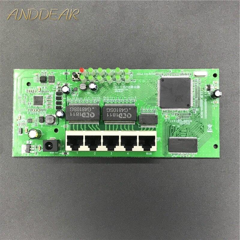 OEM 5 puertos POE router módulo fabricante vender 5 Gigabit completo 10/100/1000M POE 48V2A router módulos OEM cableado router módulo