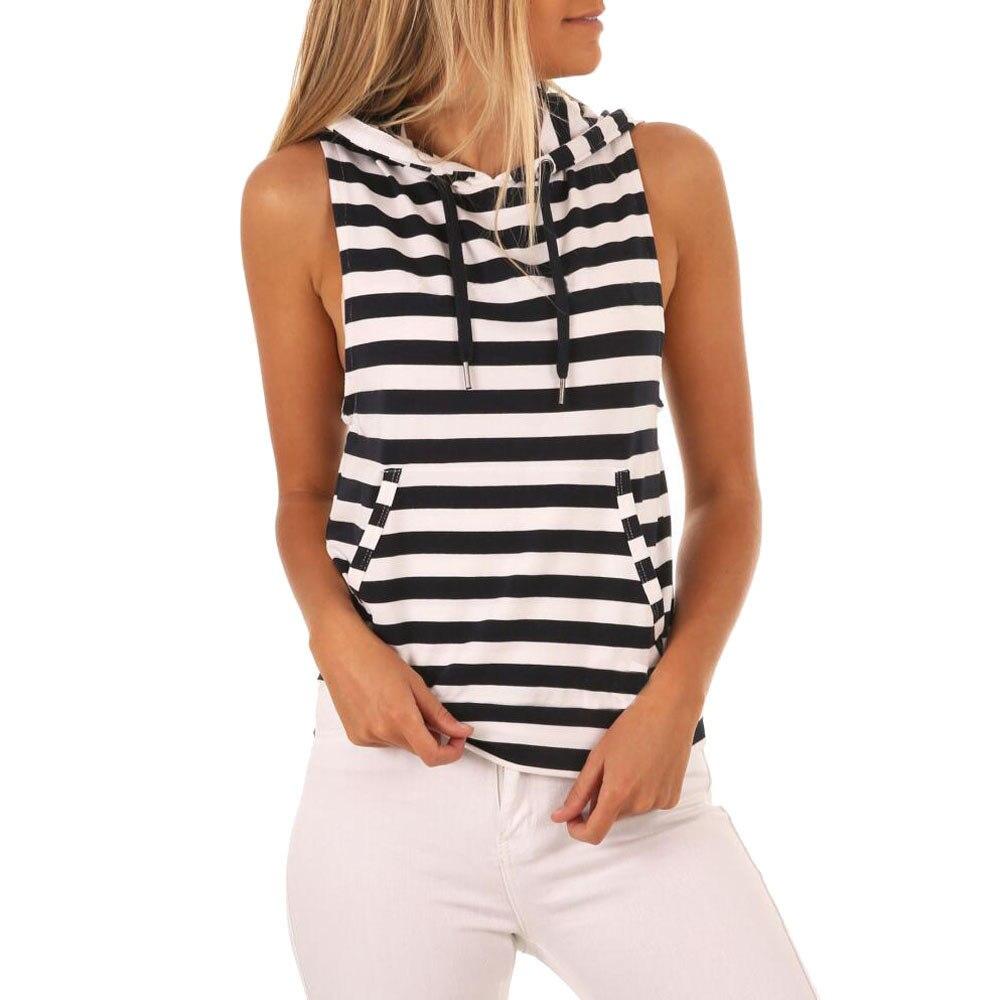 Женский топ без рукавов летняя пляжная блуза в полоску с капюшоном Майки   