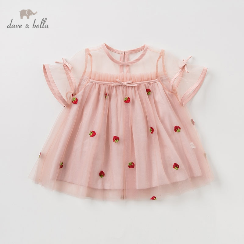 DBM10422 dave bella summer baby girl's princess cute floral dress children party wedding dress kids infant lolital clothes