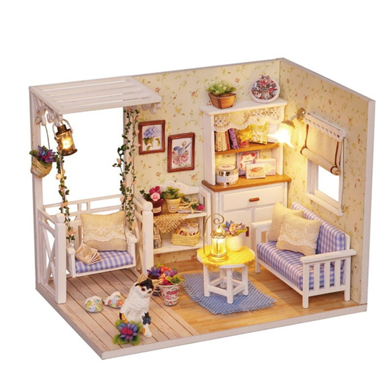 mylb Diy Doll House KITTEN DIARY handmade house model beautiful Wodden furnitures educational toys for girl funny Birthday Gifts
