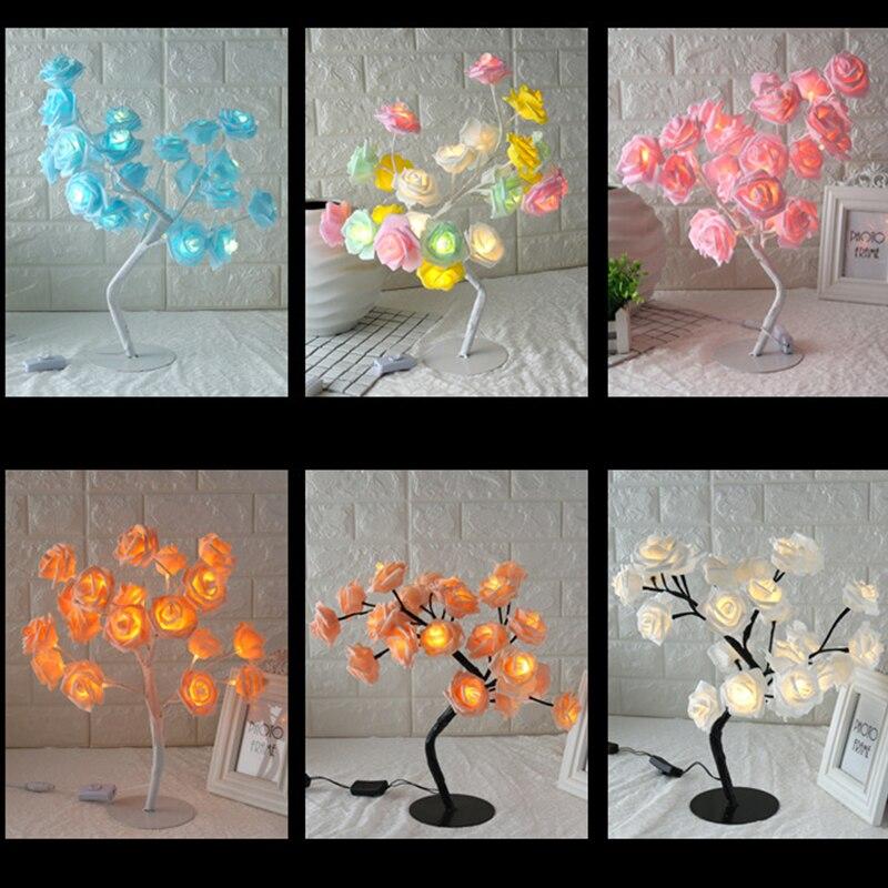Rose Shaped Table Lamp Flower Rose Tree Decorative Light for Living Room Bedroom JDH99
