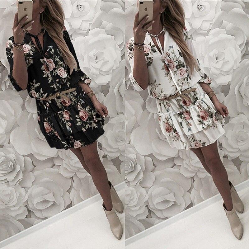 2019 vestido de verano para mujer Estilo bohemio Vestido de playa de gasa estampado Floral vestido túnica vestido de verano Mini vestido suelto de fiesta Vestidos de talla grande 2XL
