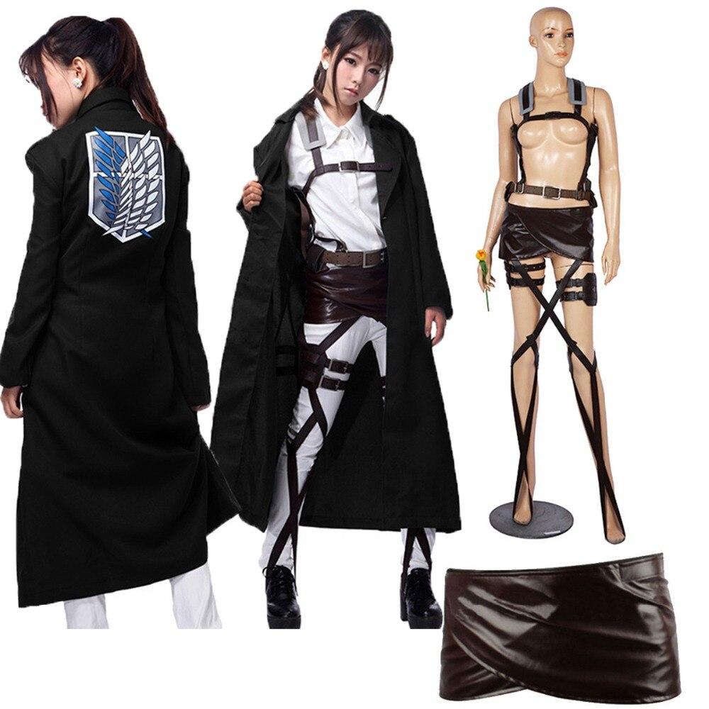 ¡Novedad! Chaqueta Shingeki no Kyojin Levi Rivaille, capa, disfraz de cosplay para adultos, traje de ataque a los Titanes, chal negro, cinturón, pantalones cortos de cuero
