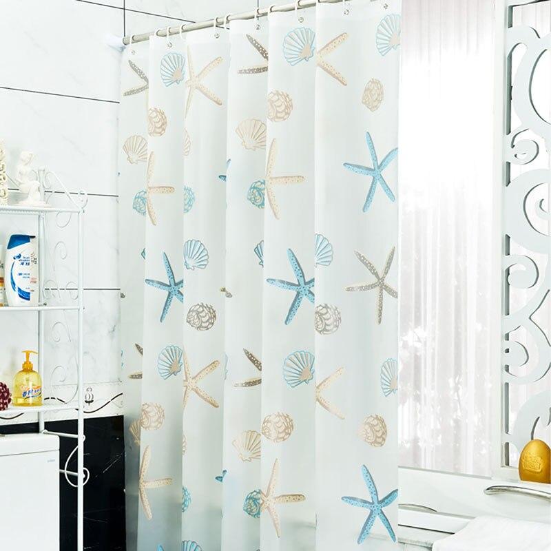 shower curtain Bathroom PEVA Beach Shell Bathroom Waterproof Mildew Proof Shower Curtain With 12pcs Curtain Hooks Rings