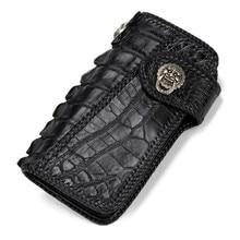 Hommes à tricoter à la main porte-cartes en cuir véritable Alligator portefeuilles noir sac sacs à main pochette en cuir tanné végétal portefeuille