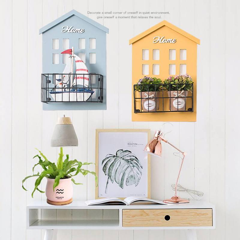 Практичная настенная полка, деревянный дом, стеллаж, стеллаж, настенная подвесная коробка для хранения, ремесло
