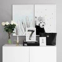 Ours de dessin anime a la mode  decoration de maison  peinture nordique Simple  affiche sur toile  Art de lespace moderne  image murale pour salon