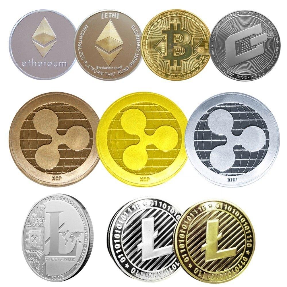No-monedas de la moneda de Bitcoin/Ethereum/Lite/Dash/onda Moneda de 5 tipos de moneda conmemorativa de envío de la gota