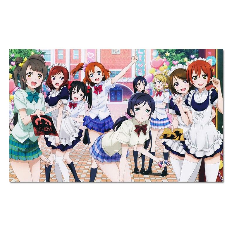 Anime Girl Poster Japanese Manga Student Girls Prints Hatsune Miku Vocaloid Posters Pictures Hanayo Megami Canvas Wall Art