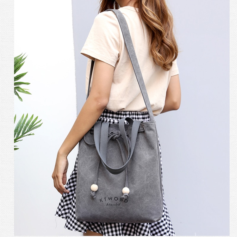 Women Canvas Tote Bag Concise Letter Printing Shoulder Cloth Bags 2019 New Ladies Duty Cotton Shopping Bags Small Fresh
