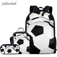 Jackherelook Soccer Basketball Baseball Printing Kids Backpack Student Bookbag Boys Girls School Bags 3Pcs/Set Shoulder Bag Big