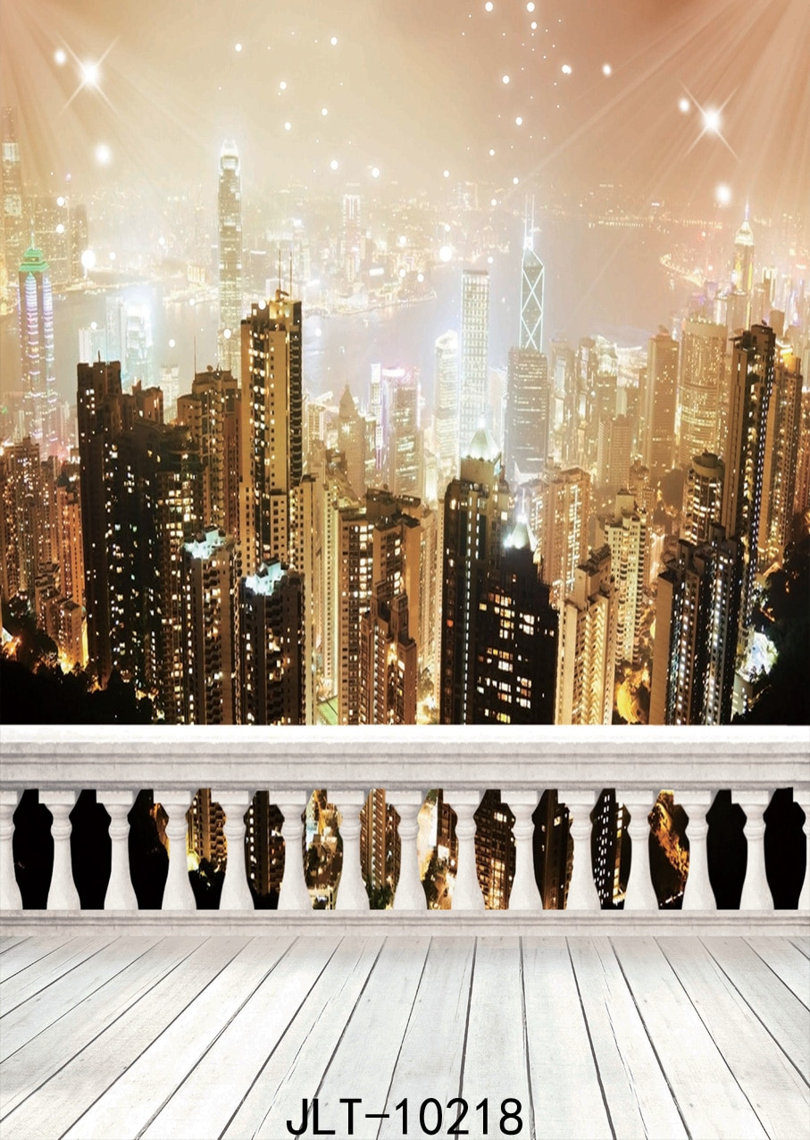 Night City Railing Vinyl Photographic Backgrounds  for Portrait Wedding Party Baby New Born Backdrop Photocall Photo Booth enlarge