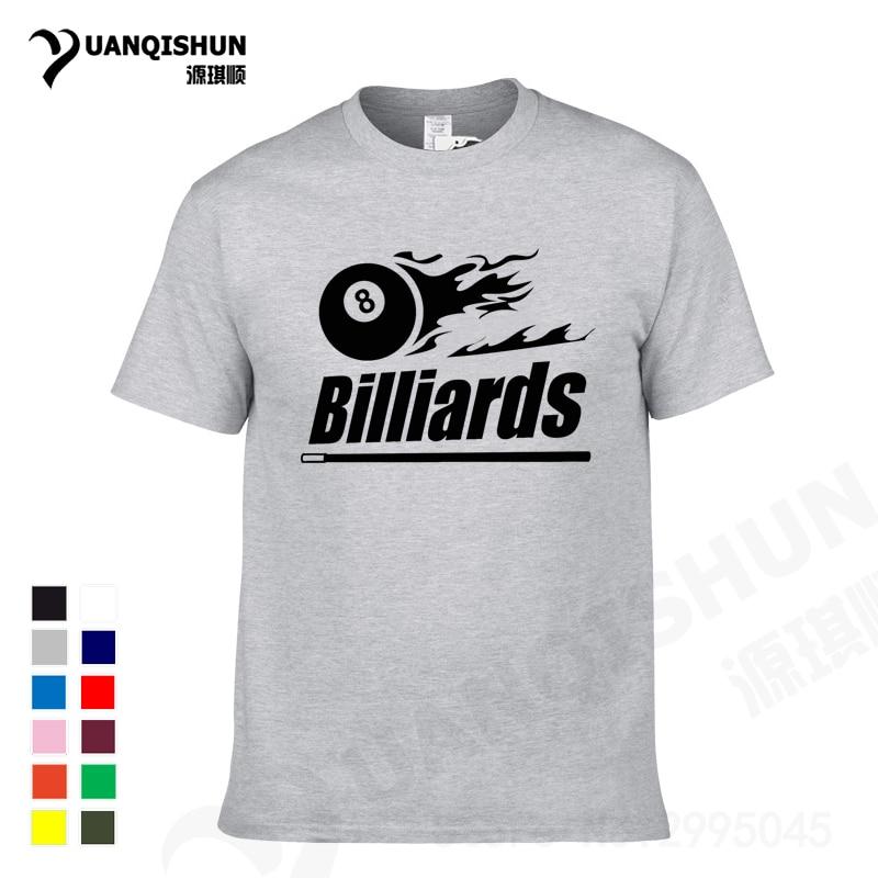 Camiseta YUANQISHUN con estampado de billar, camiseta informal para amantes del billar, camiseta negra de manga corta de algodón de alta calidad de 8 clubes