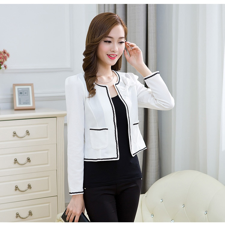 Ladies Blazers Long Sleeve Flower Women Suit Jacket Black pink Blaser New Fashion Autumn Female Plus Size Blazer Femme
