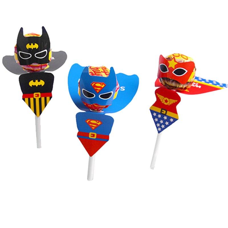 54 pçs superman batman maravilha mulher doces lollipop decoração cartões para crianças festa de aniversário fornecimento lollipop presente acessórios