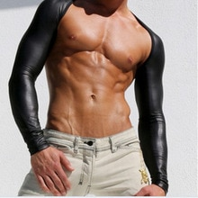 Mannen Sexy lederen Tank Tops ademende vest man t-shirt mouwen strakke bescherming mouwen catwalk podium en fitness