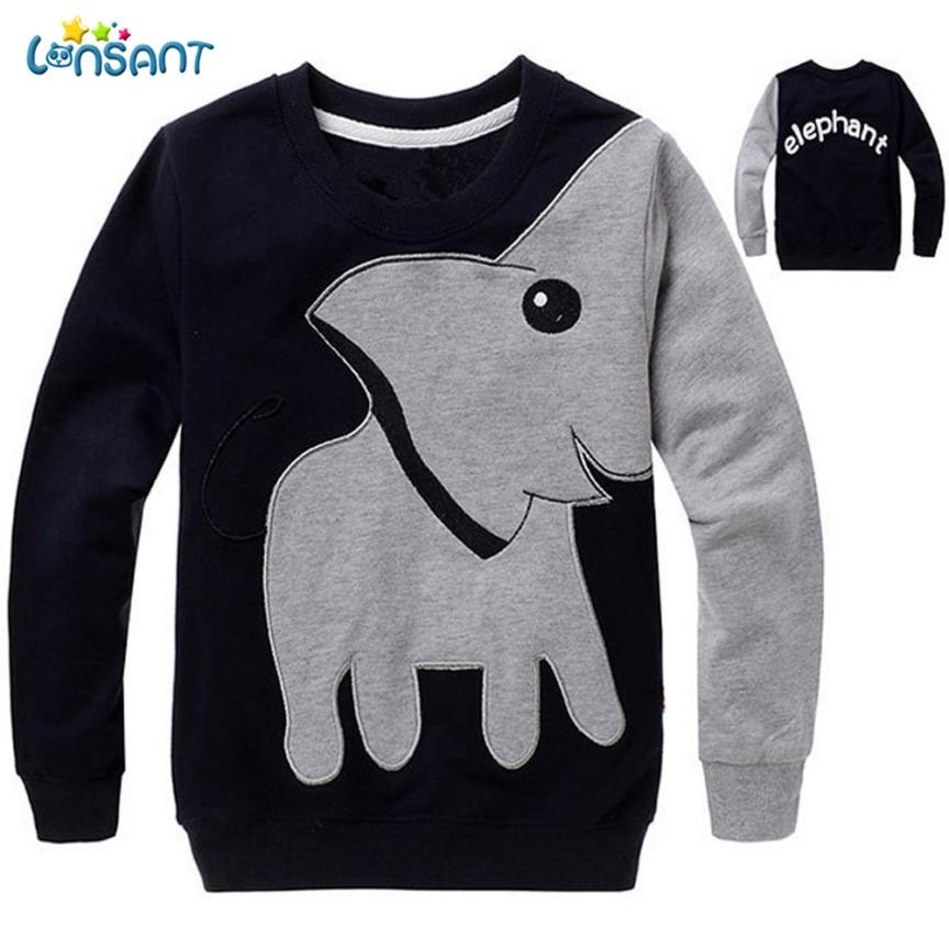 Ropa LONSANT de alta calidad Unisex para niños, Blusa de manga larga de elefante, Tops, suéter, camisa, ropa divertida para niños, Dropshipping