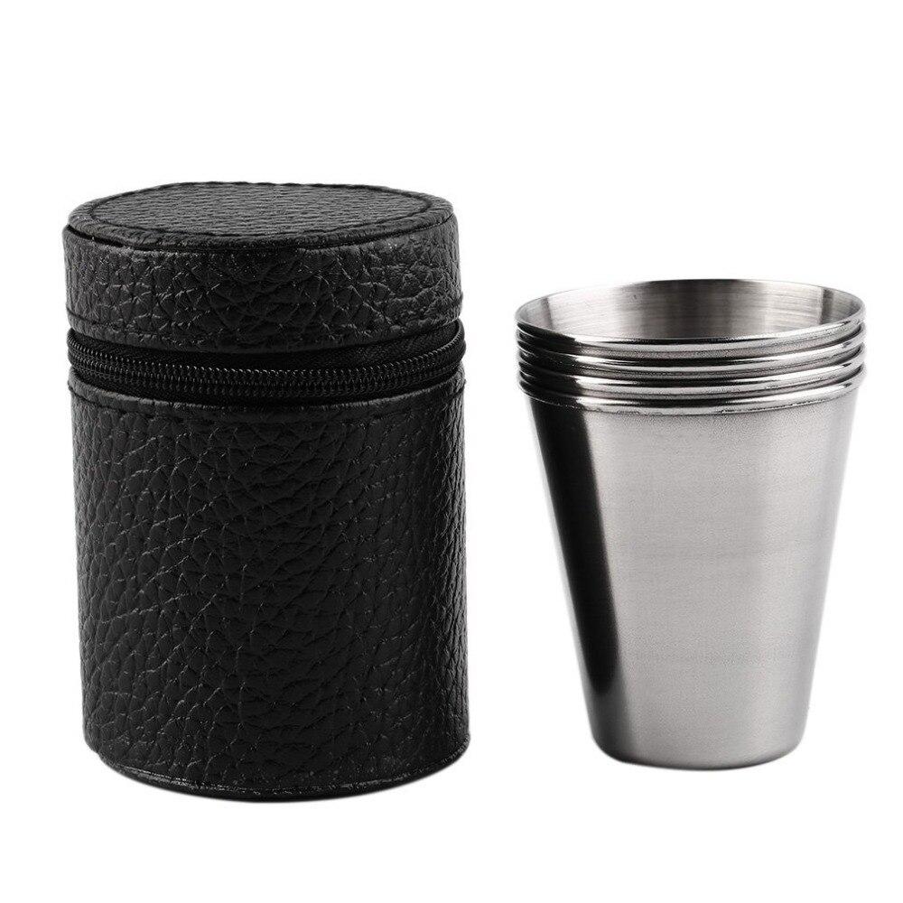 Conjunto de 4 aço inoxidável capa caneca de acampamento caneca copo beber café chá cerveja com caso ideal para acampamento férias piquenique
