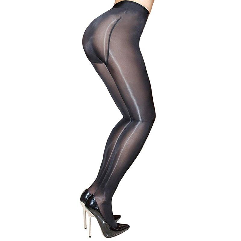 Femmes ajouter entrejambe brillant collants transparent Sexy collants extensible Calzas tentation Collant furtif Medias Fantaisie Pantimedias