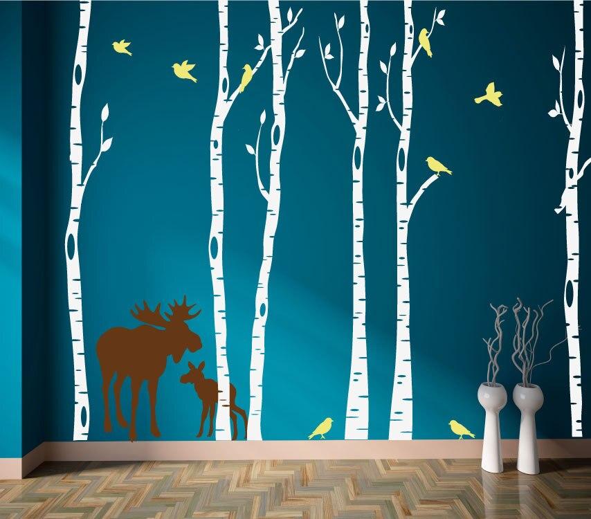 Árvores de bétula decalque da parede com alce e pássaros enorme árvore floresta adesivos decoração casa decalque sala estar papel murais a178