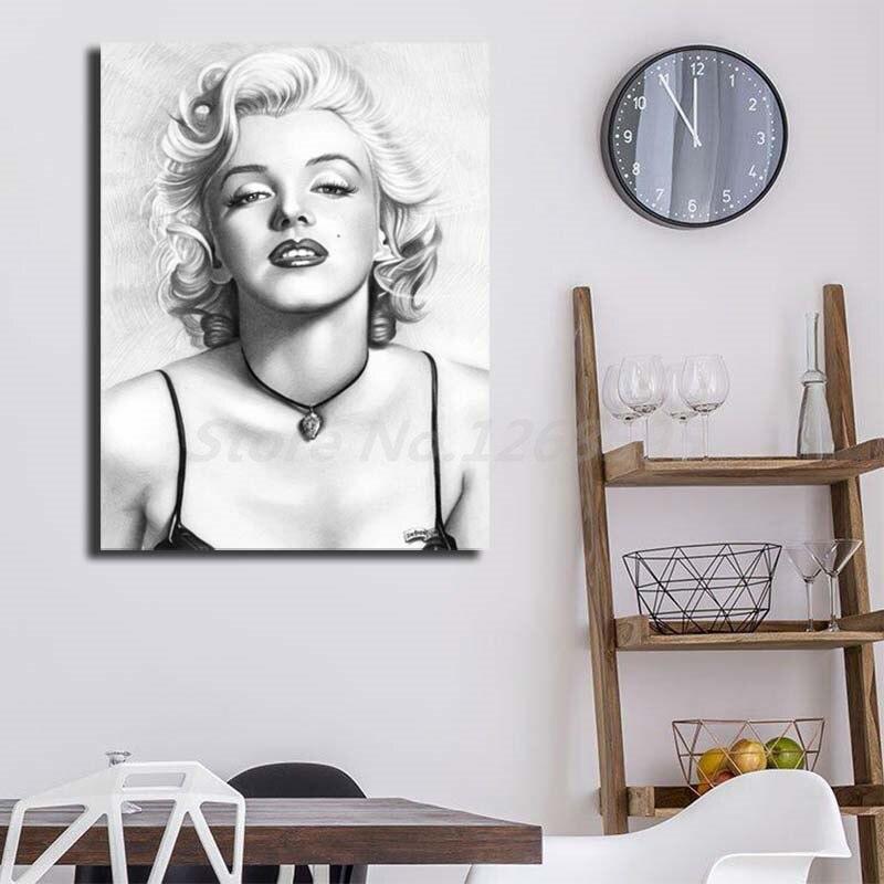 Марилин Монро карандаш портрет HD стены искусства холст плакат и печать холст картина Картина для спальни для гостиной домашний декор