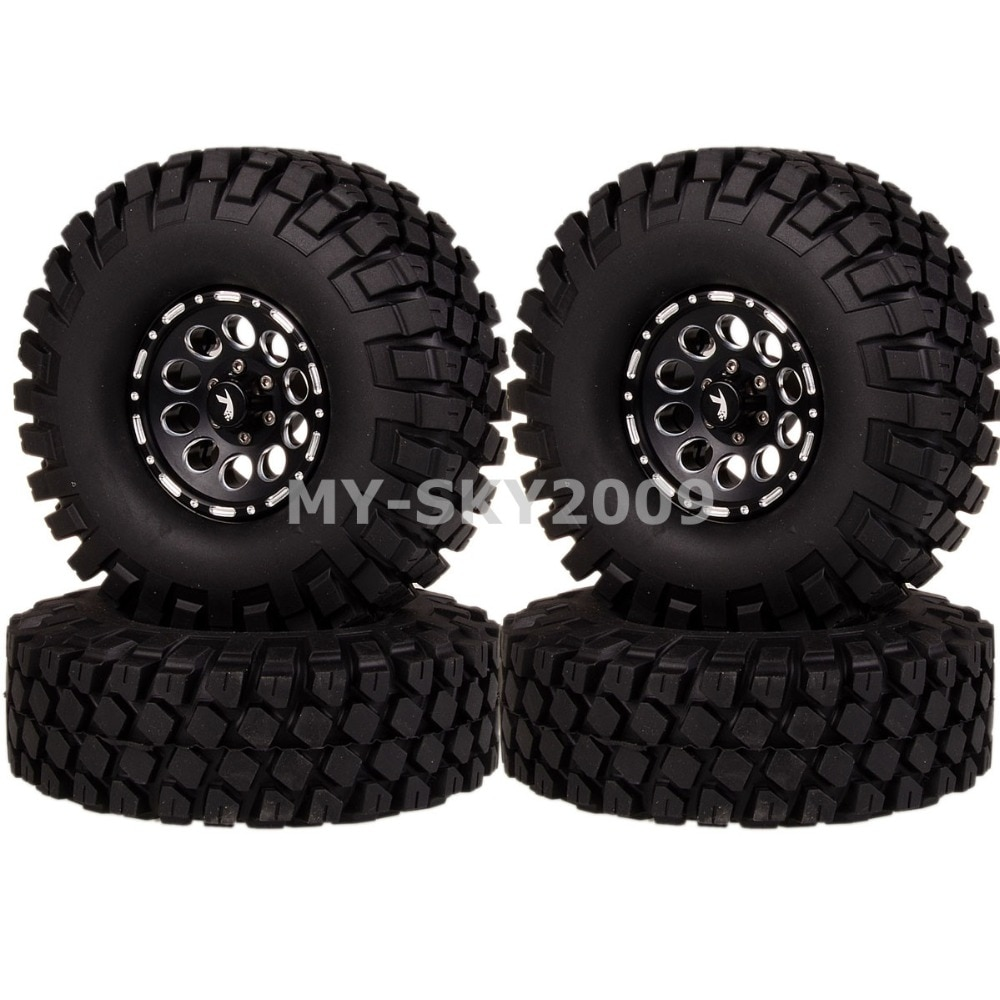 4pcs RC Model Off-Road Truck Buggy Rock Crawler 1.9 Inch Aluminum Beadlock Wheel Rim 112mm Tyres 1064-7038