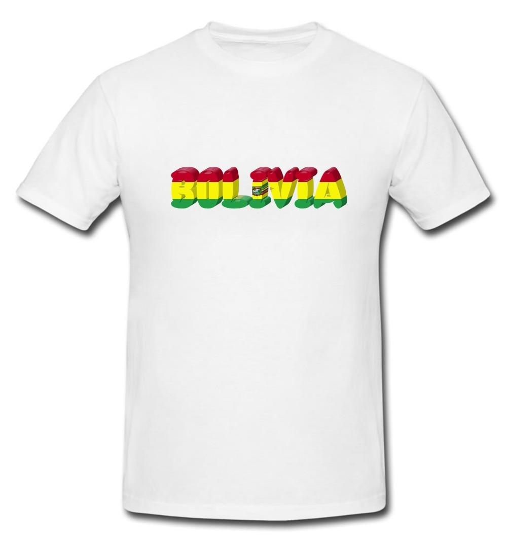 Camisetas de algodón de diseño fresco 3D, camiseta boliviana de Bolivia, bandera nacional del país, camiseta de novedad, camiseta de verano