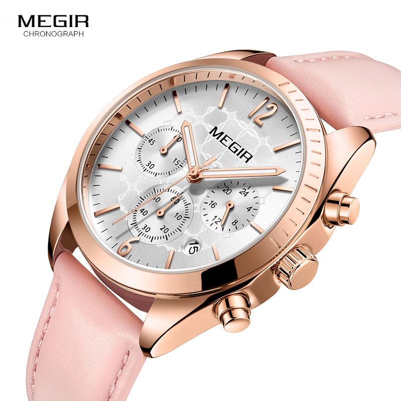 Megir Women's Leather Quartz Watches Chronograph Clock 24 Hours Waterproof Wristwatch for Lady Girl Relogios Femininos 2115 Pink