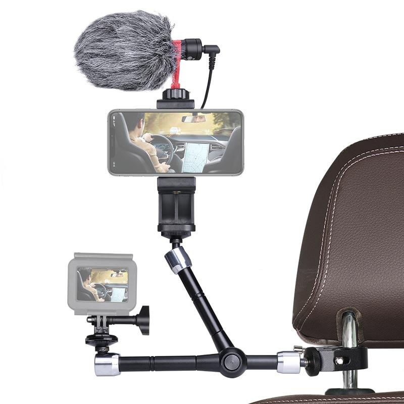 قابل للتعديل توضيح الاحتكاك 3 ماجيك الذراع حامل كاميرا المشبك جبل تلاعب للعمل كاميرا ميكروفون سيارة مسند الرأس