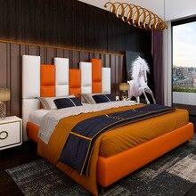 Nouveau lit en cuir simple et léger de luxe post-moderne 1.8 m petit appartement en métal lit double stockage lit en cuir