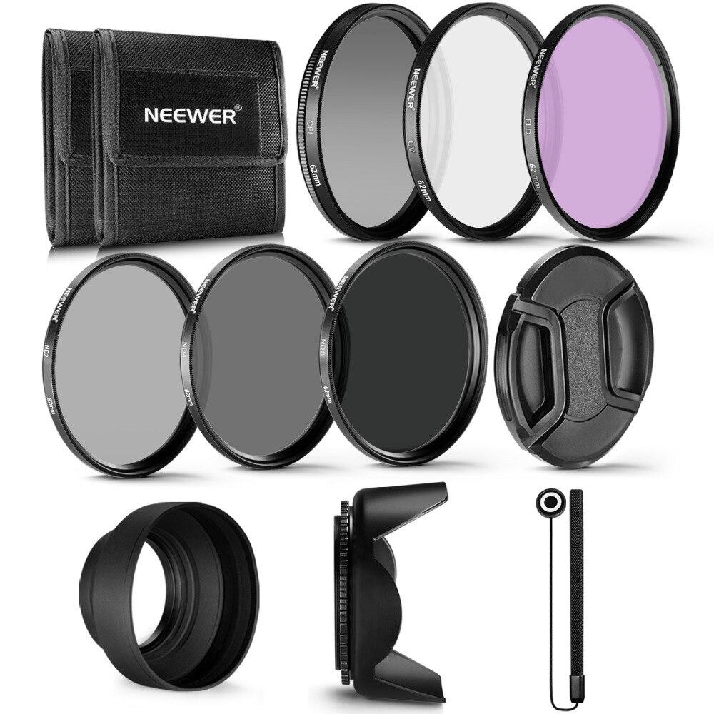 Neewer 62MM profesional UV CPL filtro FLD para objetivo + filtro ND...