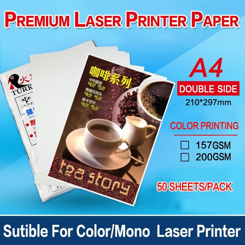 Полуглянцевая двусторонняя бумага формата а4 для печати по меню, 50 листов, 157 г или 200 г для монолазерного принтера/цветного лазерного принте...