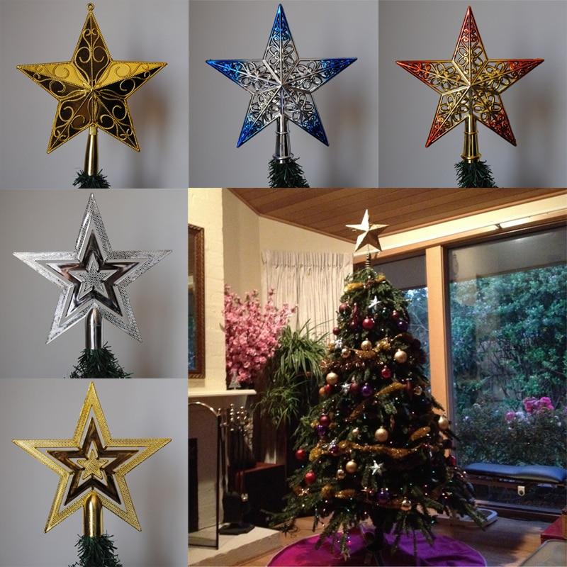 PF Christmas Tree Topper Star Plastic Christmas Star Tree Topper for Christmas Table Decor Colorful Craft Xmas DIY Accessories