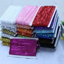 SASKIA-jupe à paillettes en dentelle   Africaine de 25 mètres, garniture de ruban, robe cousue, rideau de vêtements, accessoires bricolage, or argent 1.2CM