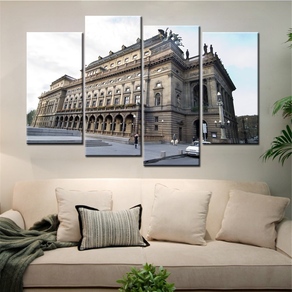 4 paneles sin marco, envío directo, paisaje de edificios de ciudad, lienzo moderno, pintura artística para sala de estar, Cuadros Modernos, decoración del hogar