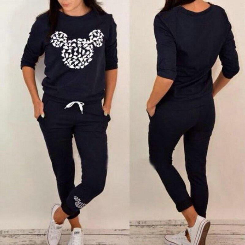 2019 Autumn Female Two Piece Clothing Set For Women Tracksuit Long Sleeve Print Sweatshirt Pant Outfit Leisure Sweat Suit DG237