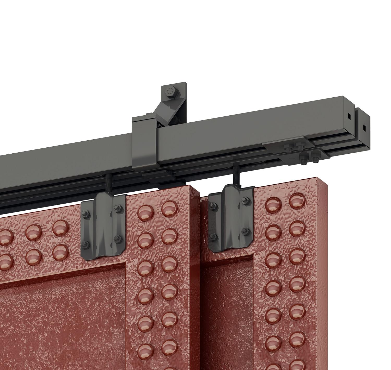 DIYHD Box Rail Heavy Duty Bypass Barn Hardware Black Box Track Exterior Sliding Barn Door Kit