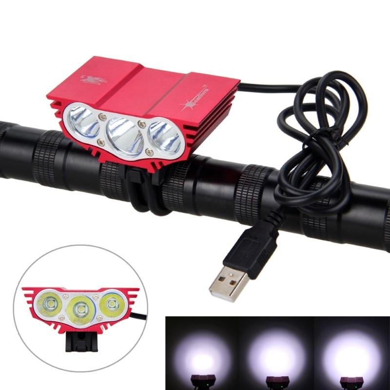 5000LM rojo manubrio liviano para bicicleta 3X XM-L 6 LED bicicleta faro sin batería USB 5V recargable faros