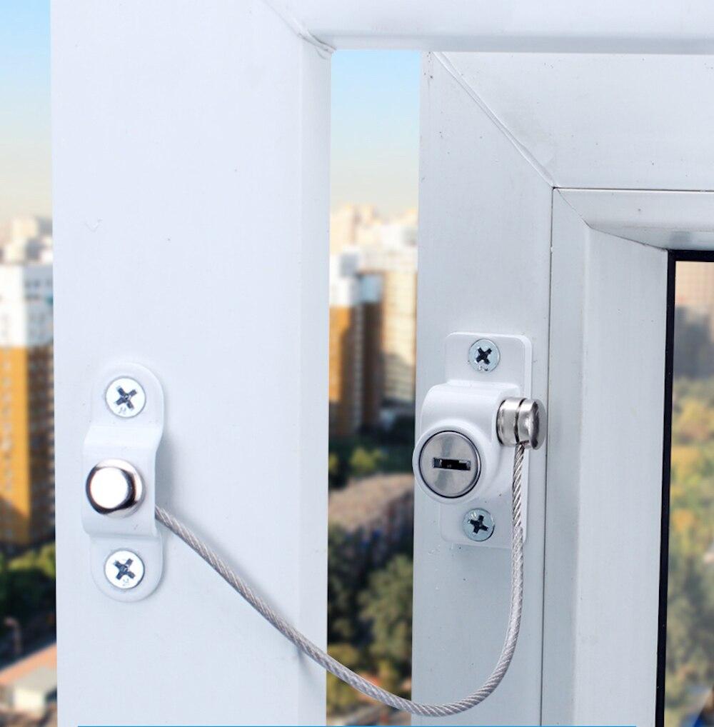 Bloqueio de corrente de janela de aço inoxidável bloqueio de segurança do agregado familiar crianças segurança